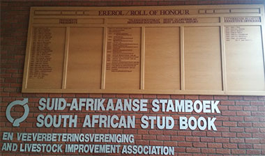 - The honours roll in the SA Stud Book building